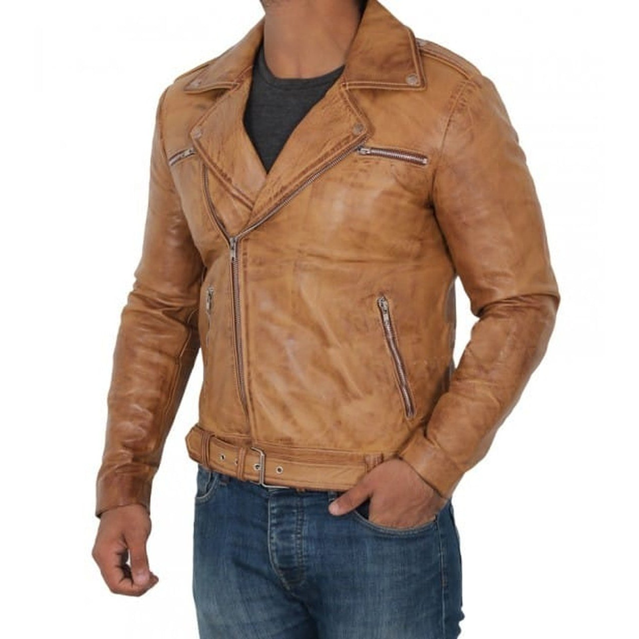 Light Brown Moto Leather Jacket Mens - Leather Jacket