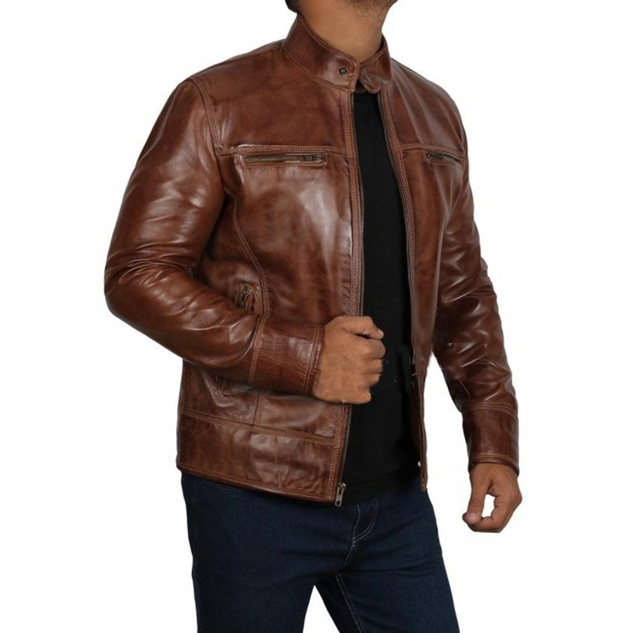 Dark Brown Leather Mens Jacket - Leather Jacket
