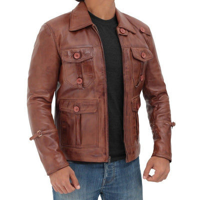 Men Vintage Four Pockets Distressed Brown Leather Jacket - Leather Jacket