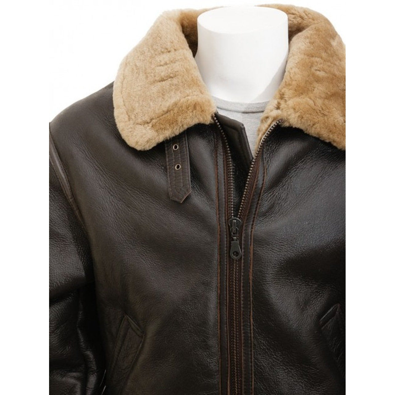 Shearling Aviator Brown Genuine Leather jacket Men - Leather Jacket
