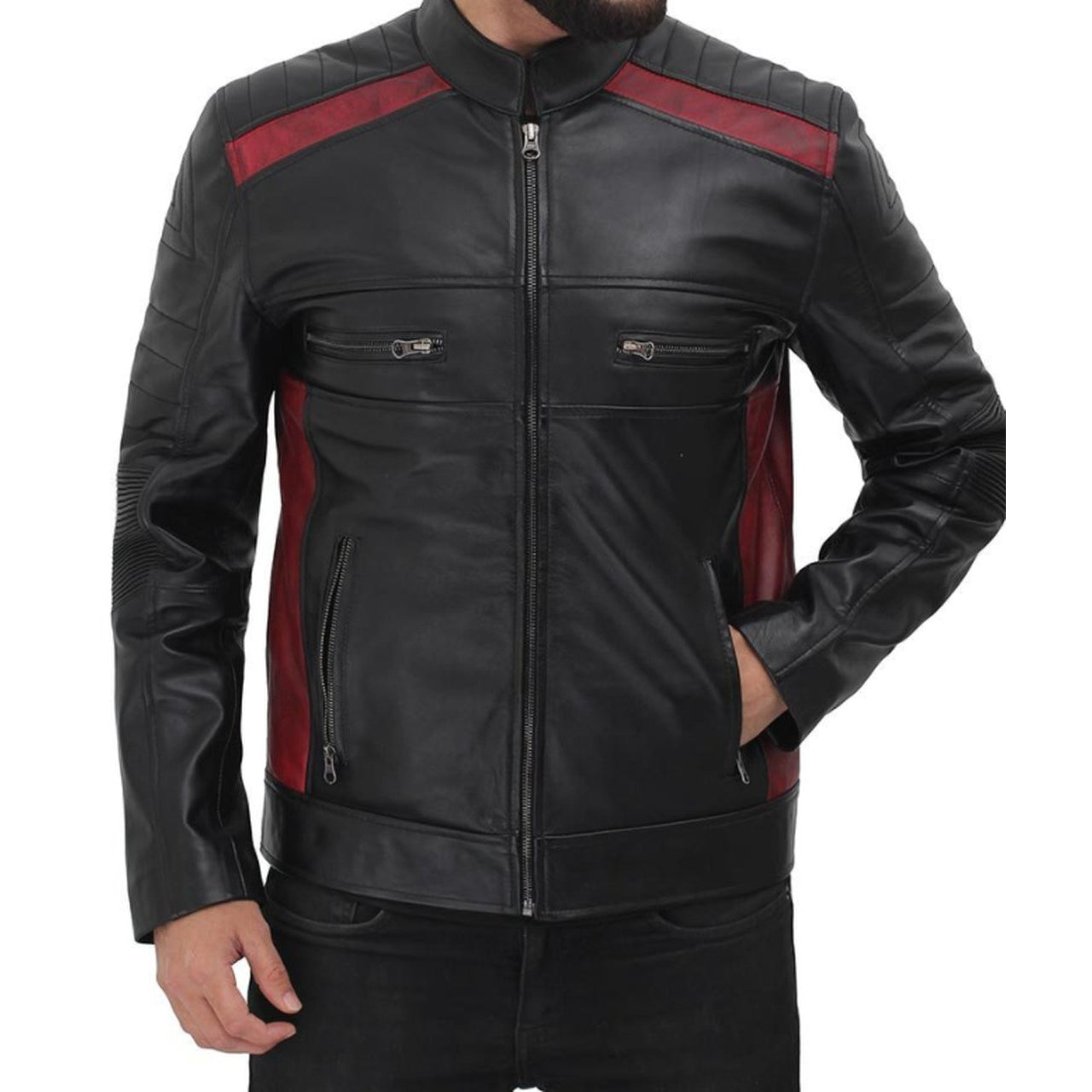 Cafe Racer With Zipper Cuff Men Genuine Sheep Leather Jacket