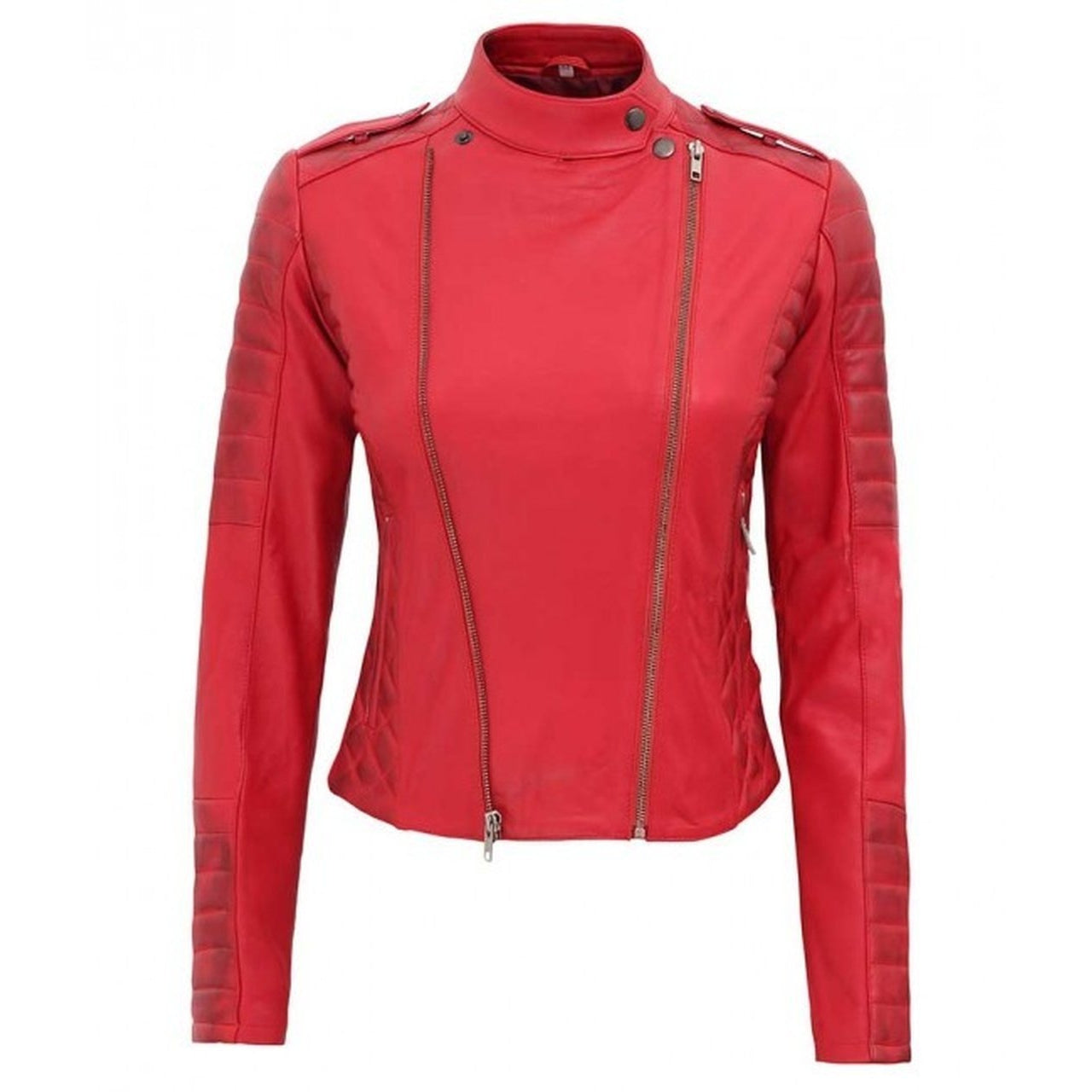 Asymmetrical Women Red Leather Jacket - Leather Jacket