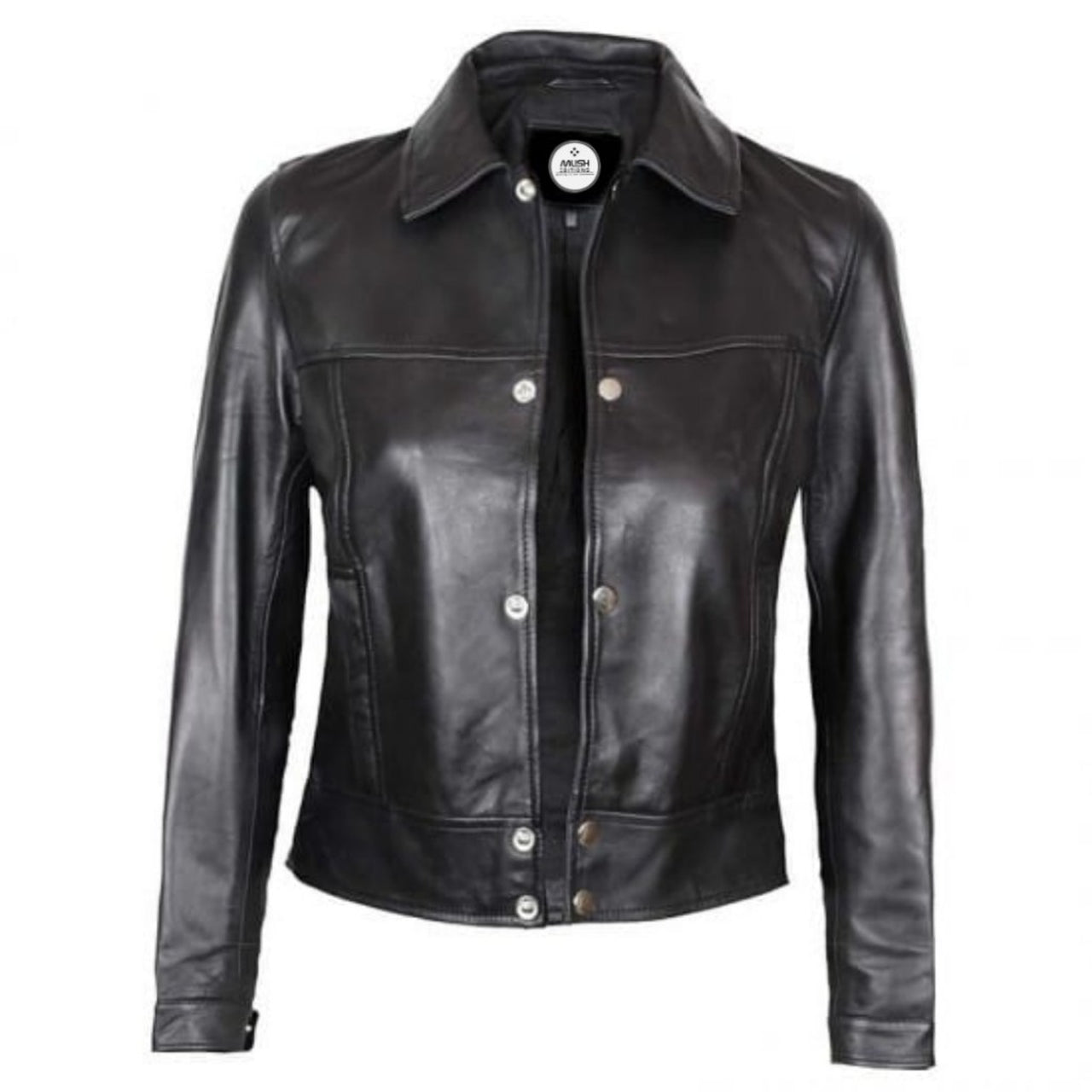 Black Button Up Casual Leather Jacket For Women - Leather Jacket