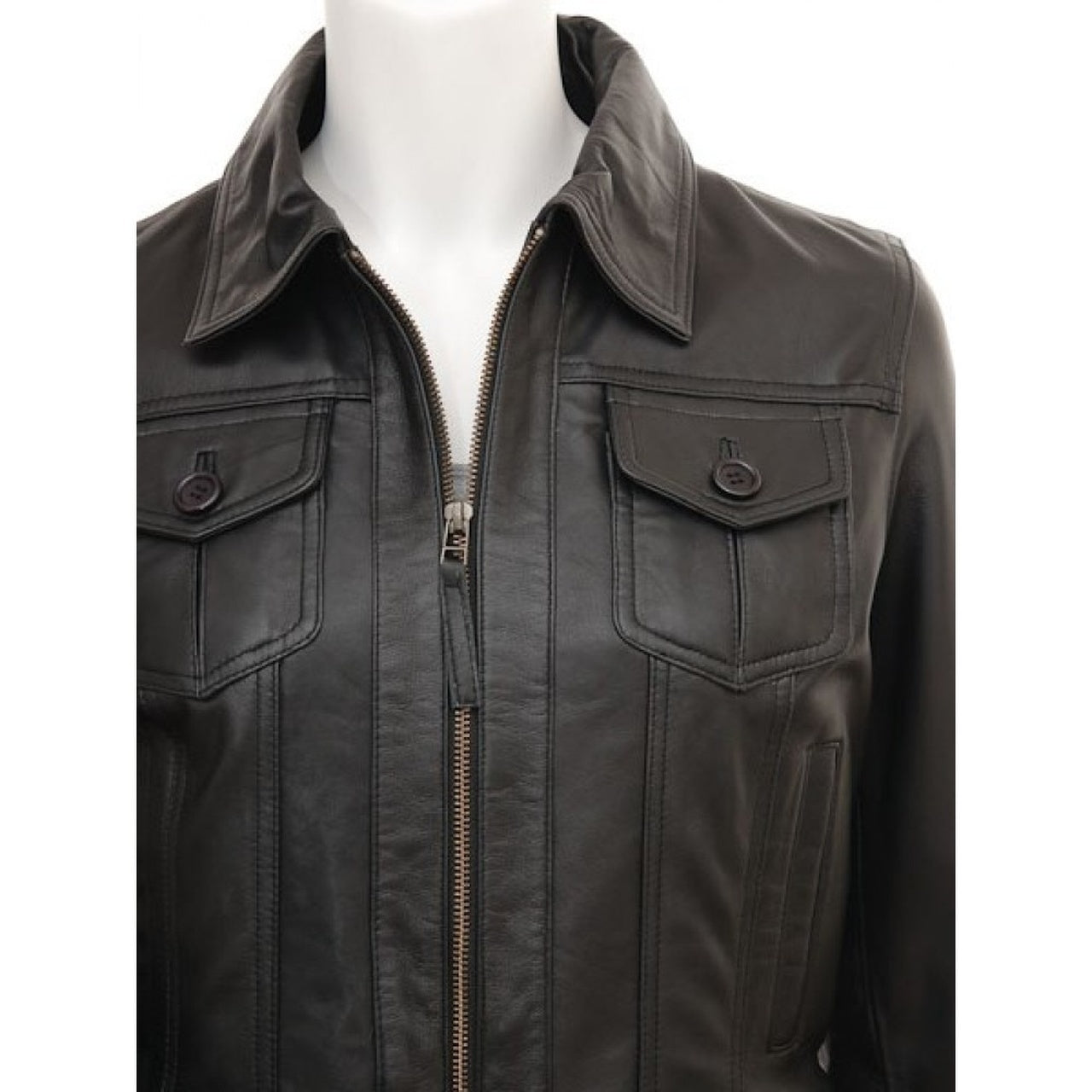 Black Front Pockets Stylish Biker Leather Jacket for Women - Leather Jacket