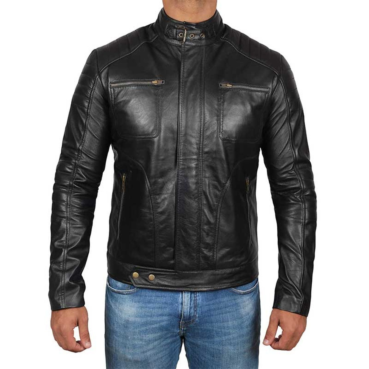 Black Genuine Leather Biker Jacket Men - Leather Jacket