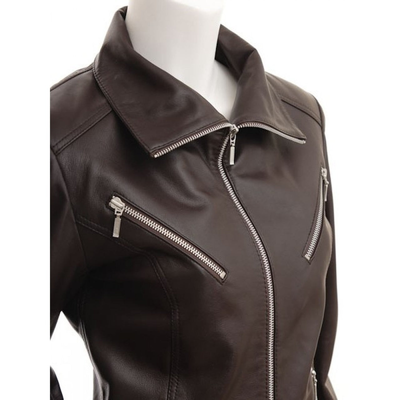 Brown High Collar Stylish Leather Jacket for Women - Leather Jacket