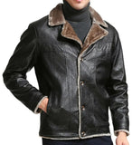 Fur Style Warm Suit Collar Fur Genuine Leather Jacket