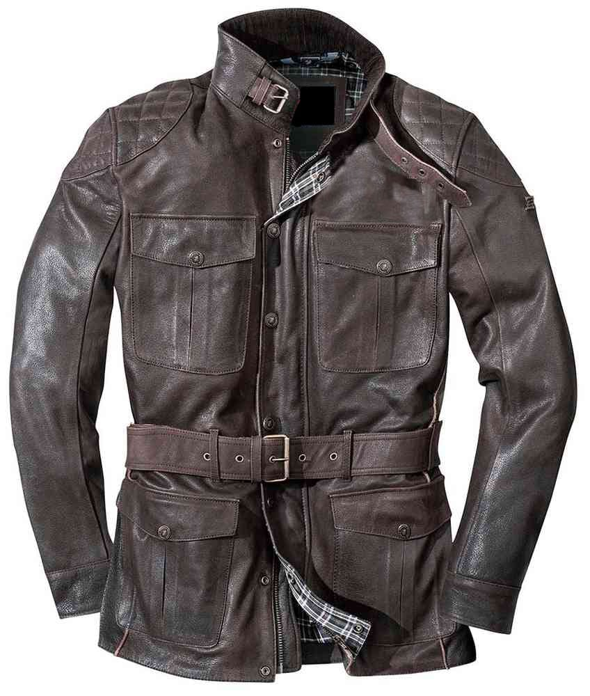 Genuine Leather Jacket With Belt Style And Upper Pocket For Men In Brown