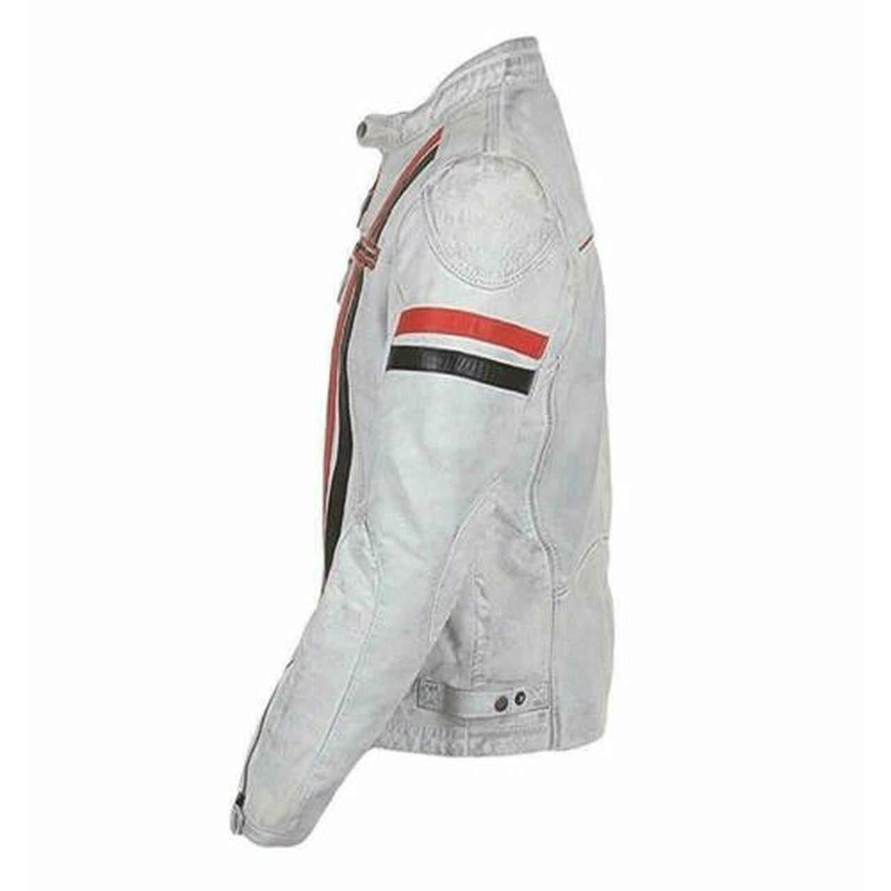 Mens Biker Cafe Leather Jacket Racer White Vintage Slim Fit Motorcycle Sheepskin
