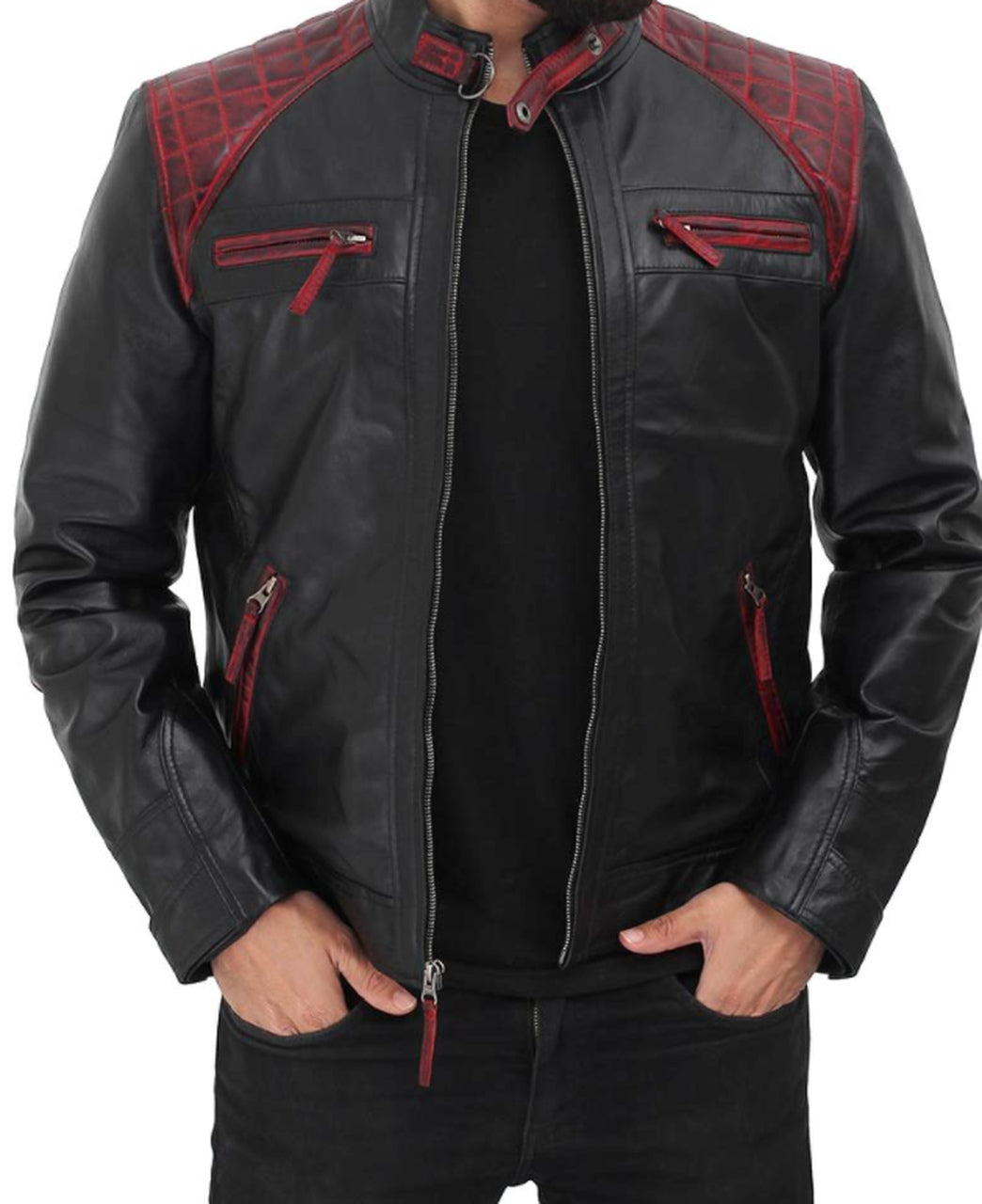 Men Black Genuine Leather Jacket With Stlyish Red Padding