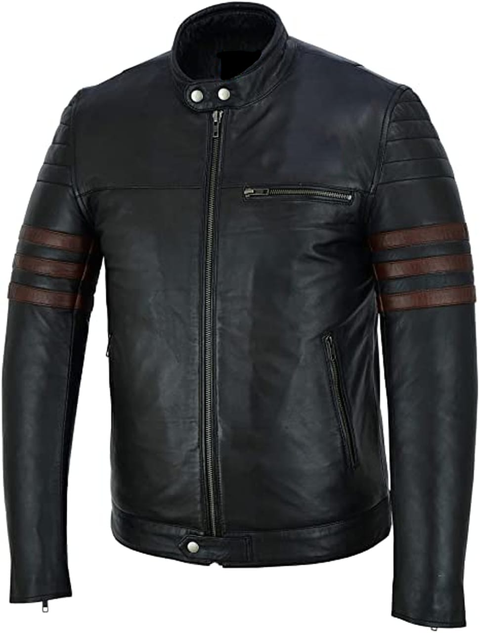 Men Genuine Sheep Leather Jacket With Brown Stripes In Black