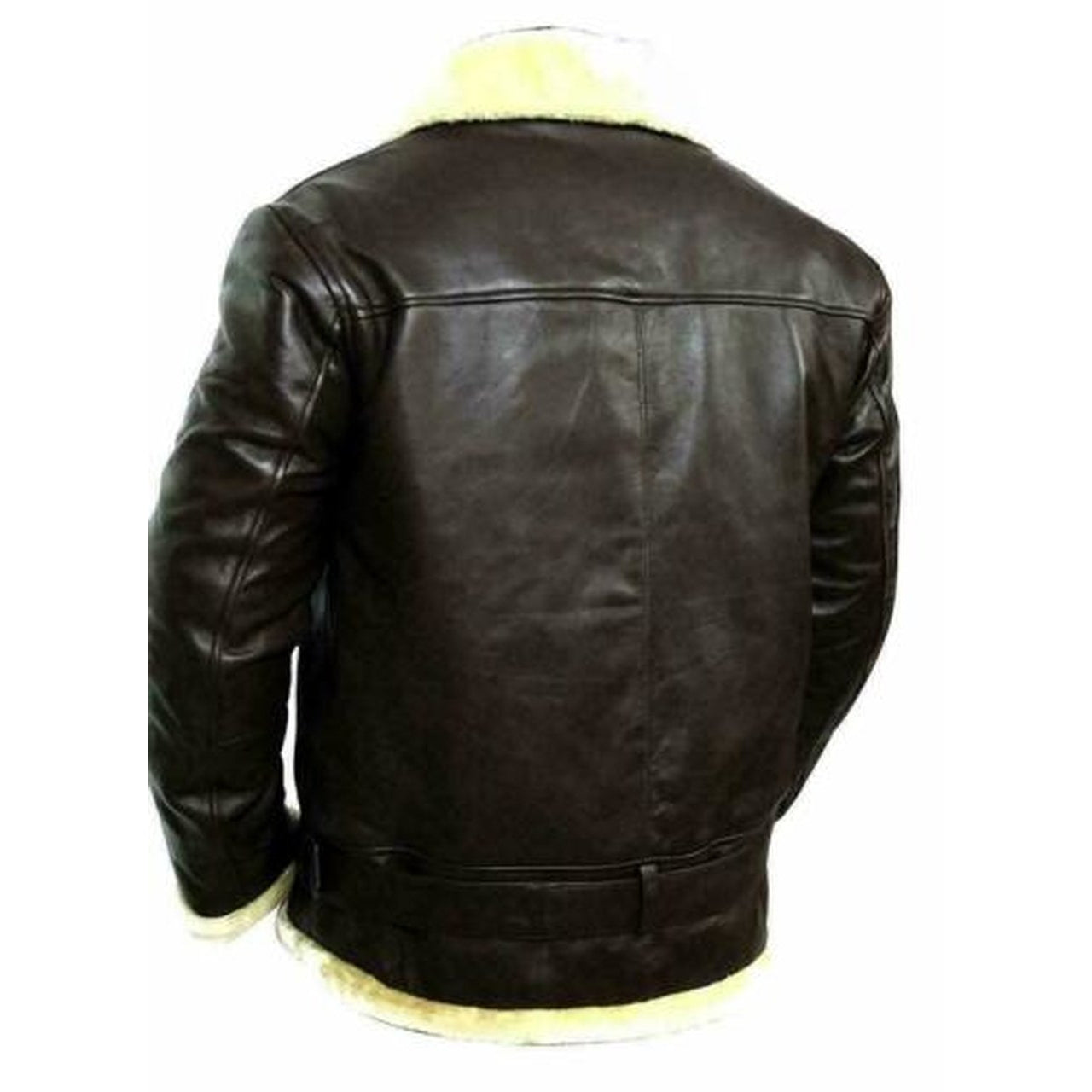 FUR Leather Jacket for Men Bomber Aviator RAF Real Sheep Skin