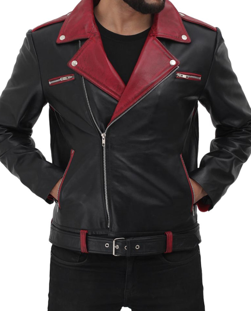 Unique Style Moto Genuine Sheep leather jacket  in Red design and stylish zip