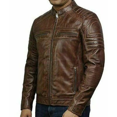 Vintage Motorcycle Biker Distressed Brown Cafe Racer Quilted Leather Jacket - Leather Jacket