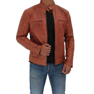 Cafe Racer Men Tan Leather Jacket - Leather Jacket