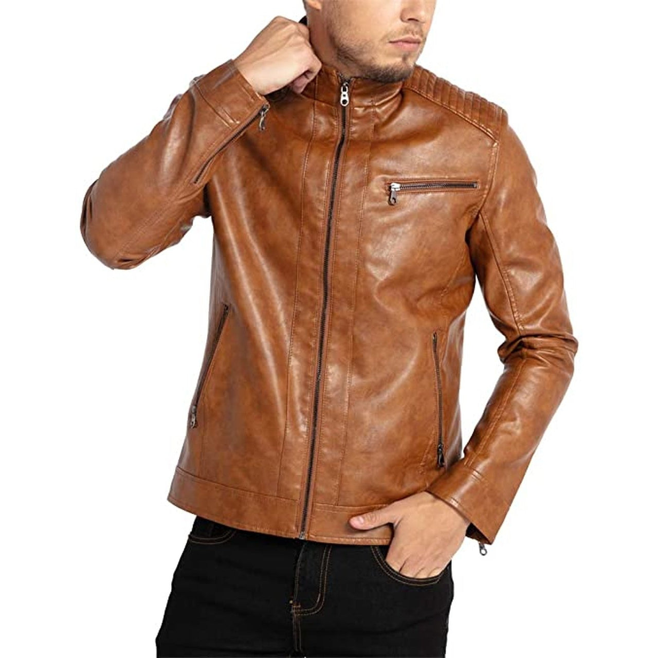 Men Stand Collar Leather Motorcycle Jacket Brown - Leather Jacket