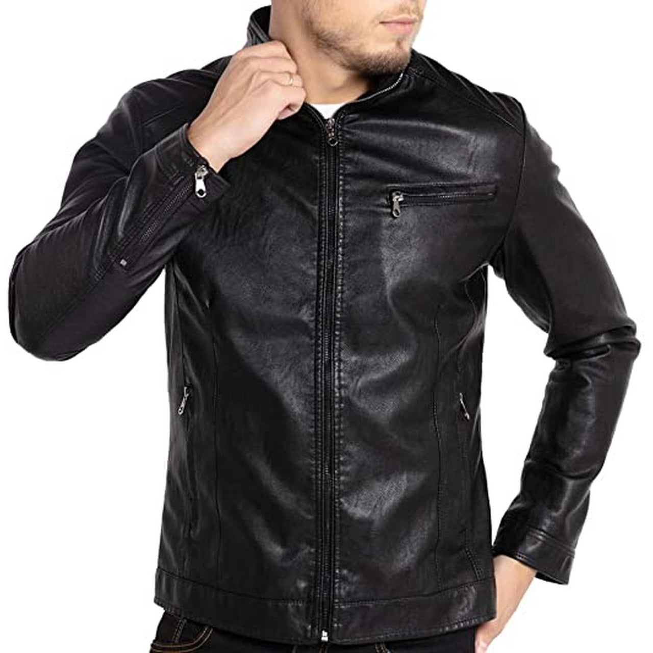 Men Stand Collar Leather Motorcycle Jacket Outwear Black - Leather Jacket