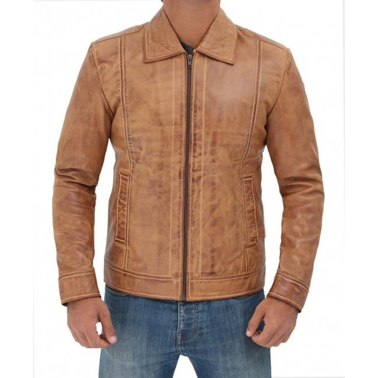 Casual Stylish Camel Brown Fitted Biker Leather Mens Jacket - Leather Jacket