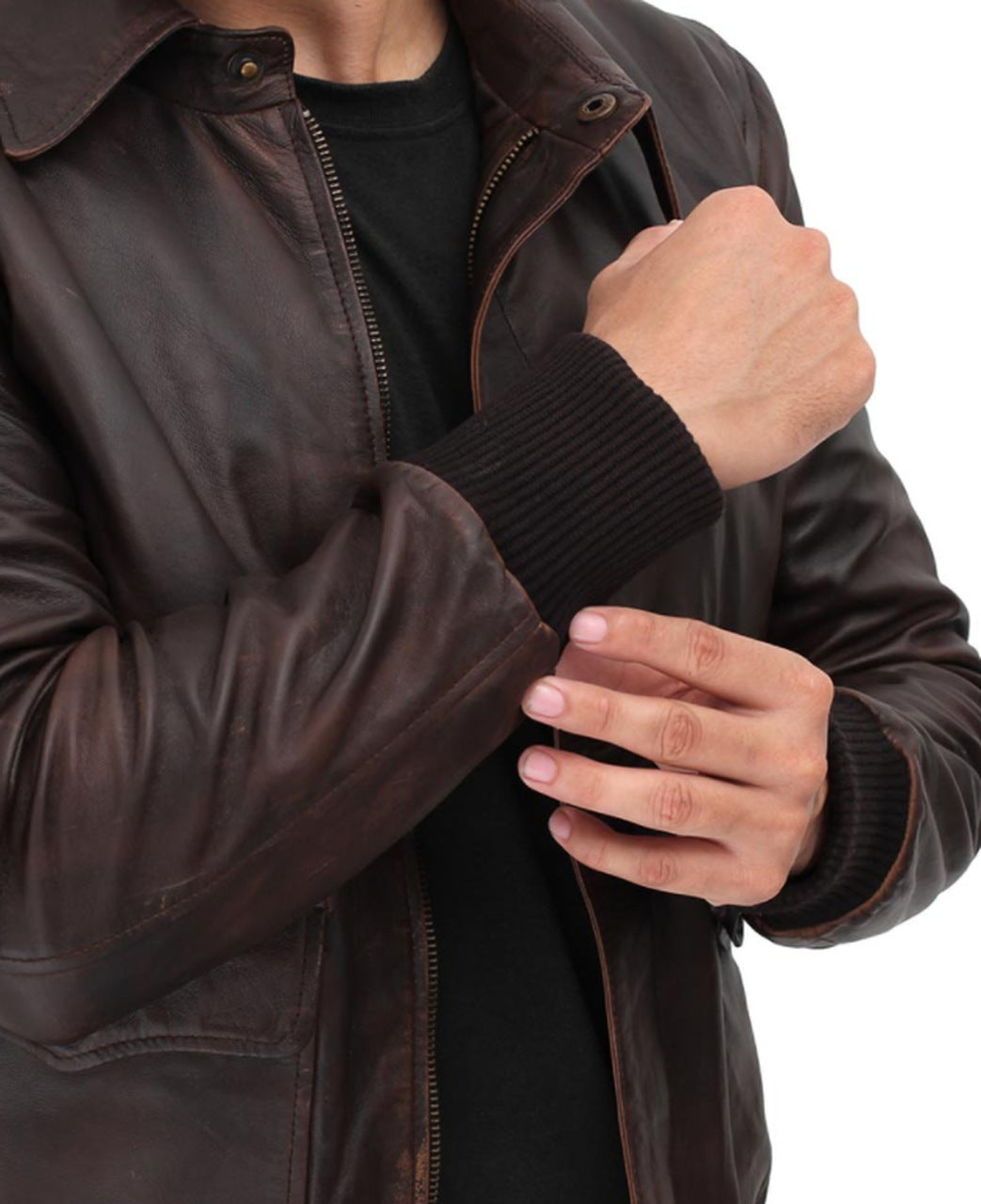 Bomber Dark brown Genuine SheepSkin Leather Jacket Men