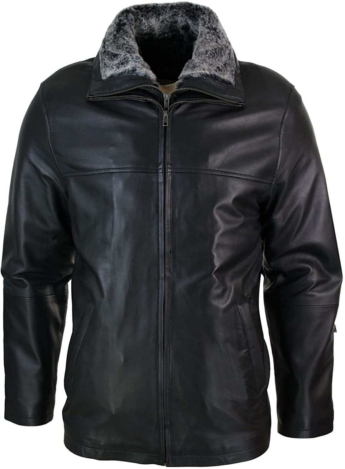 Men Classic Double Zip Fur Genuine Sheepskin Leather Jacket Black