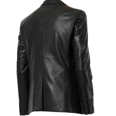 Black Real Lambskin Leather Mens Jacket Blazer Coat Casual - Leather Jacket