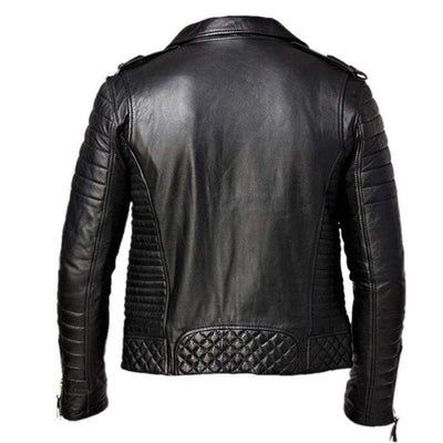 Notch Collar Quilted Design Lambskin Leather Jacket for Men - Leather Jacket