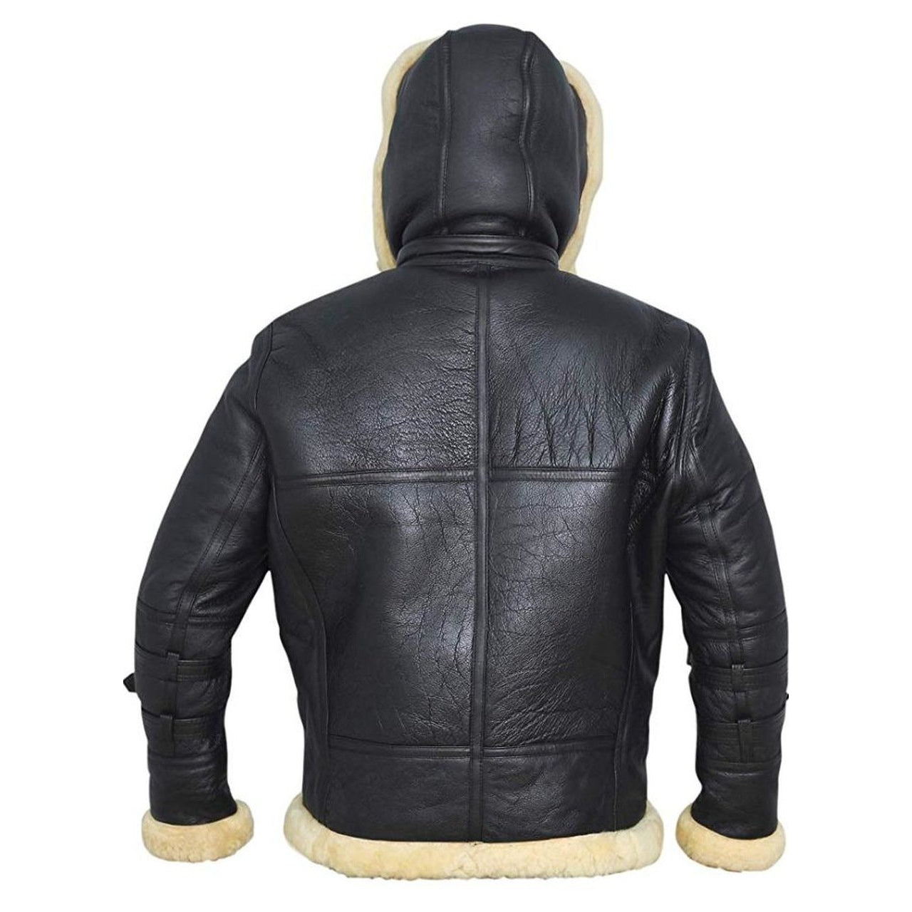 Black Hooded FUR Leather Jacket - Leather Jacket