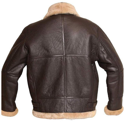 Brown Bomber Aviator FUR Leather Jacket for Men - Leather Jacket