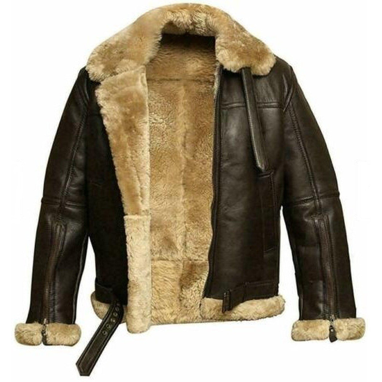 Dark Brown Fur Bomber Shearling Sheepskin Leather Jacket Men - Leather Jacket
