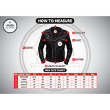 Men Black Genuine Leather Jacket With Stylish Red Padding