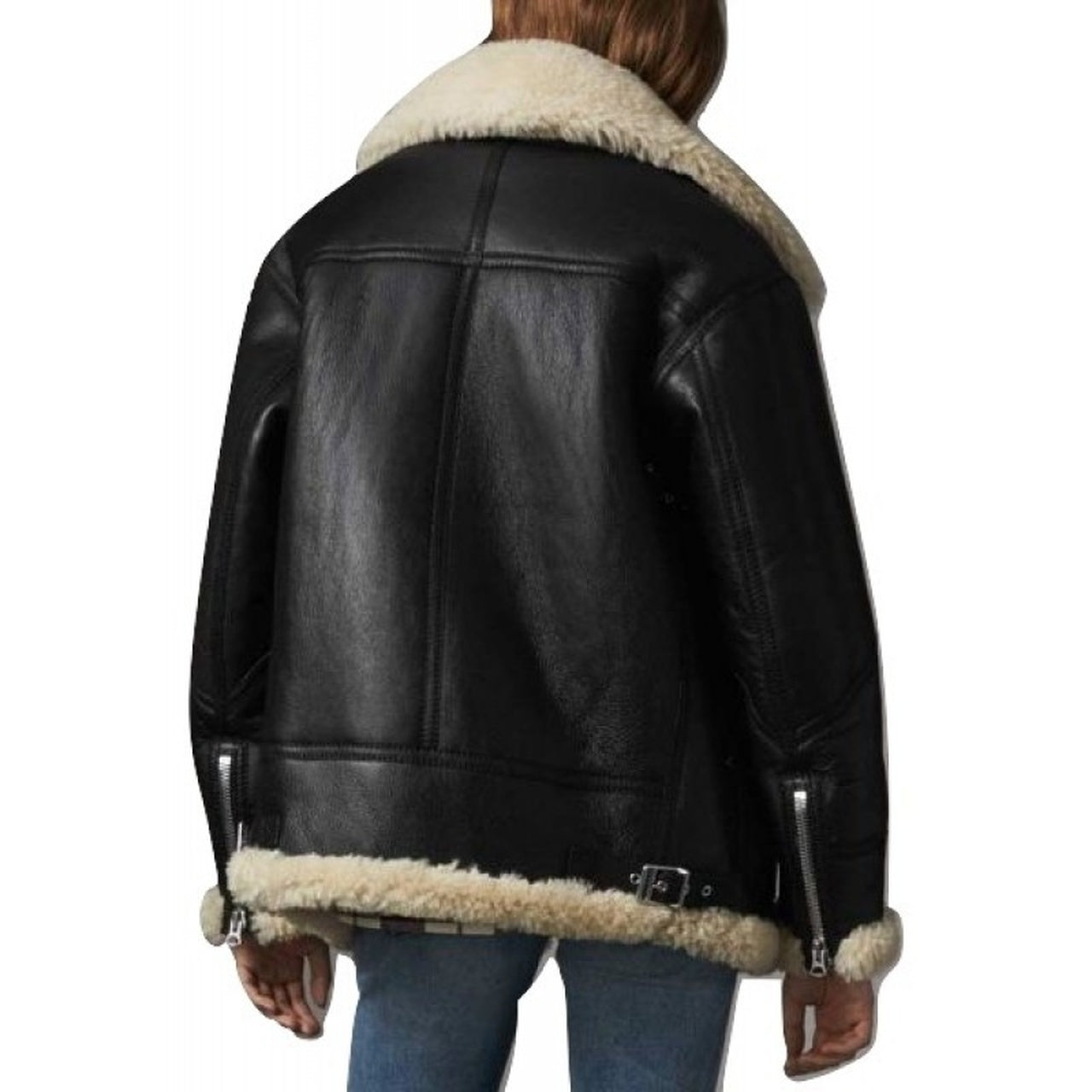 Stylish Black FUR Sheepskin Leather Jacket for Women - Leather Jacket