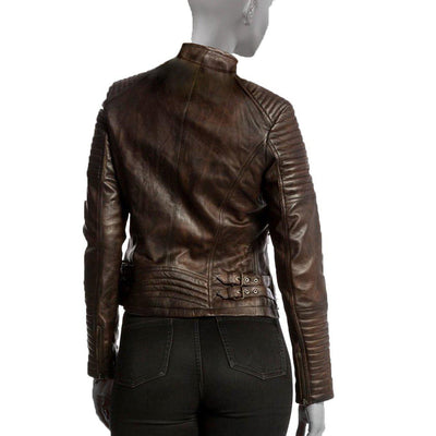Stylish Brown Leather Jacket For Women with Long Sleeves - Brown Leather Jacket - Leather Jacket
