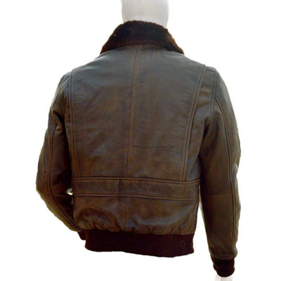 A2 Navy Flight Men Distressed Brown Leather Aviator Bomber Jacket - Leather Jacket