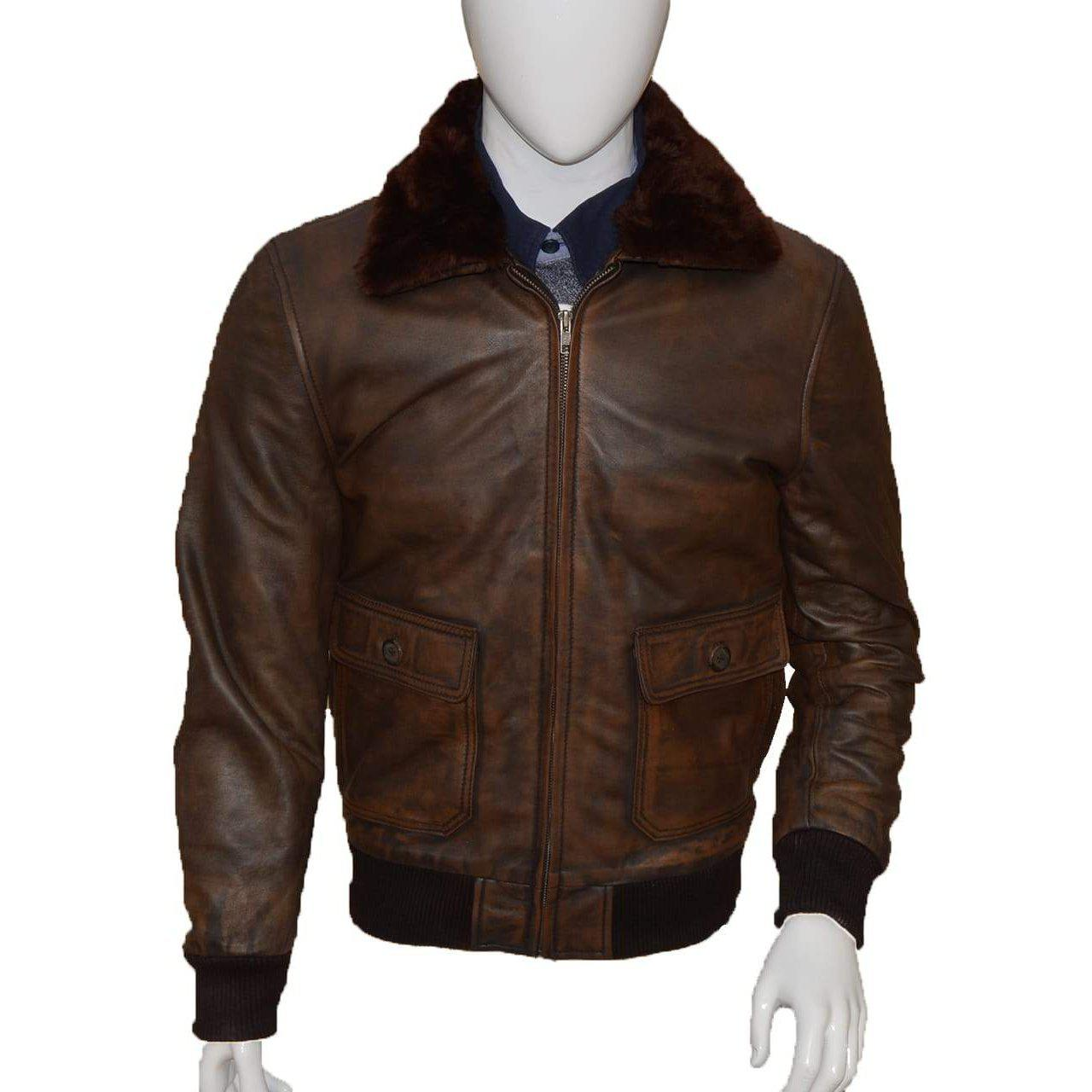 Distressed brown leather jacket | Leather Jacket Mens
