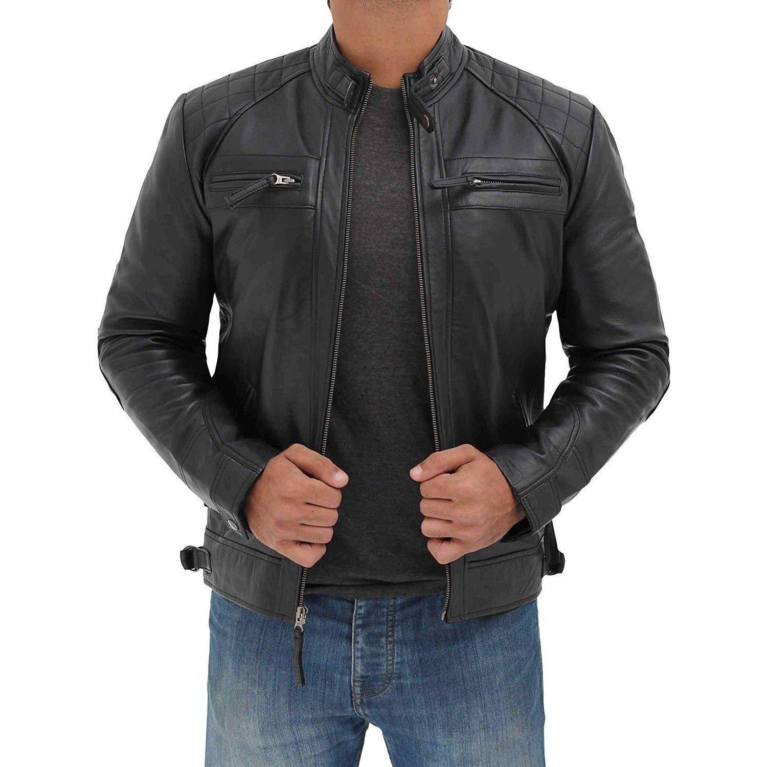 Cafe Racer Distressed Motorcycle Men Leather Jacket - Leather Jacket