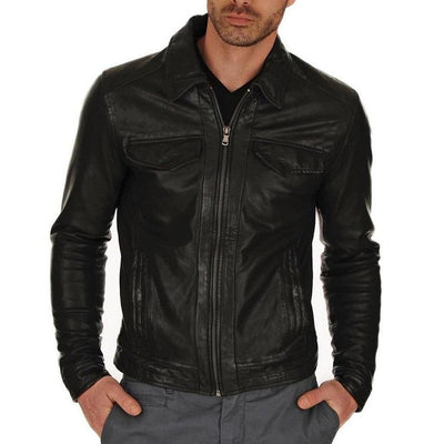 Casual Short Black Biker Leather Jacket for Men - Leather Jacket