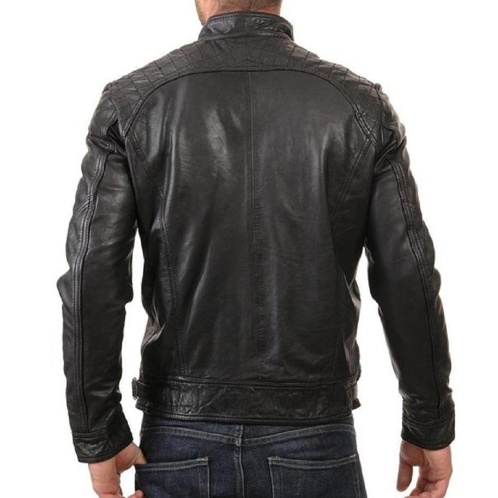 Classic Black Leather Jacket for Men with Front and Crossed Zipper Pockets - Leather Jacket