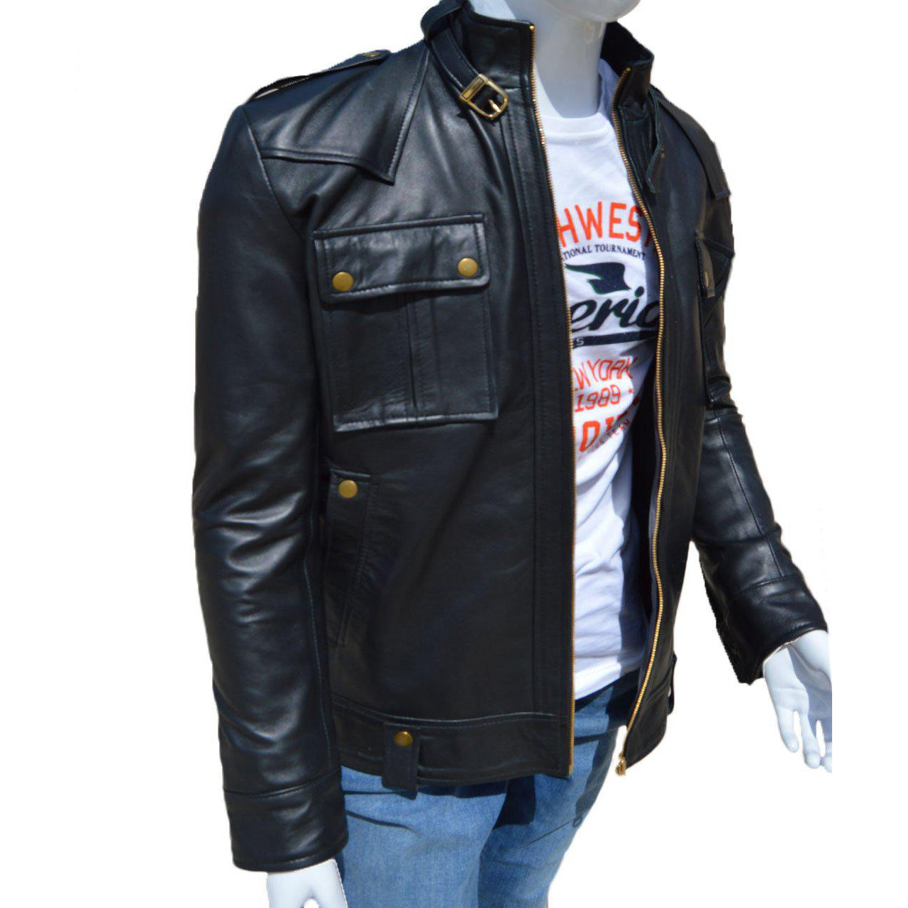 Black Stylish Leather Jacket with Front Pockets for Men - Leather Jacket