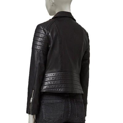 BIKER LEATHER JACKET WITH LINING ON SLEEVES FOR WOMEN - Leather Jacket