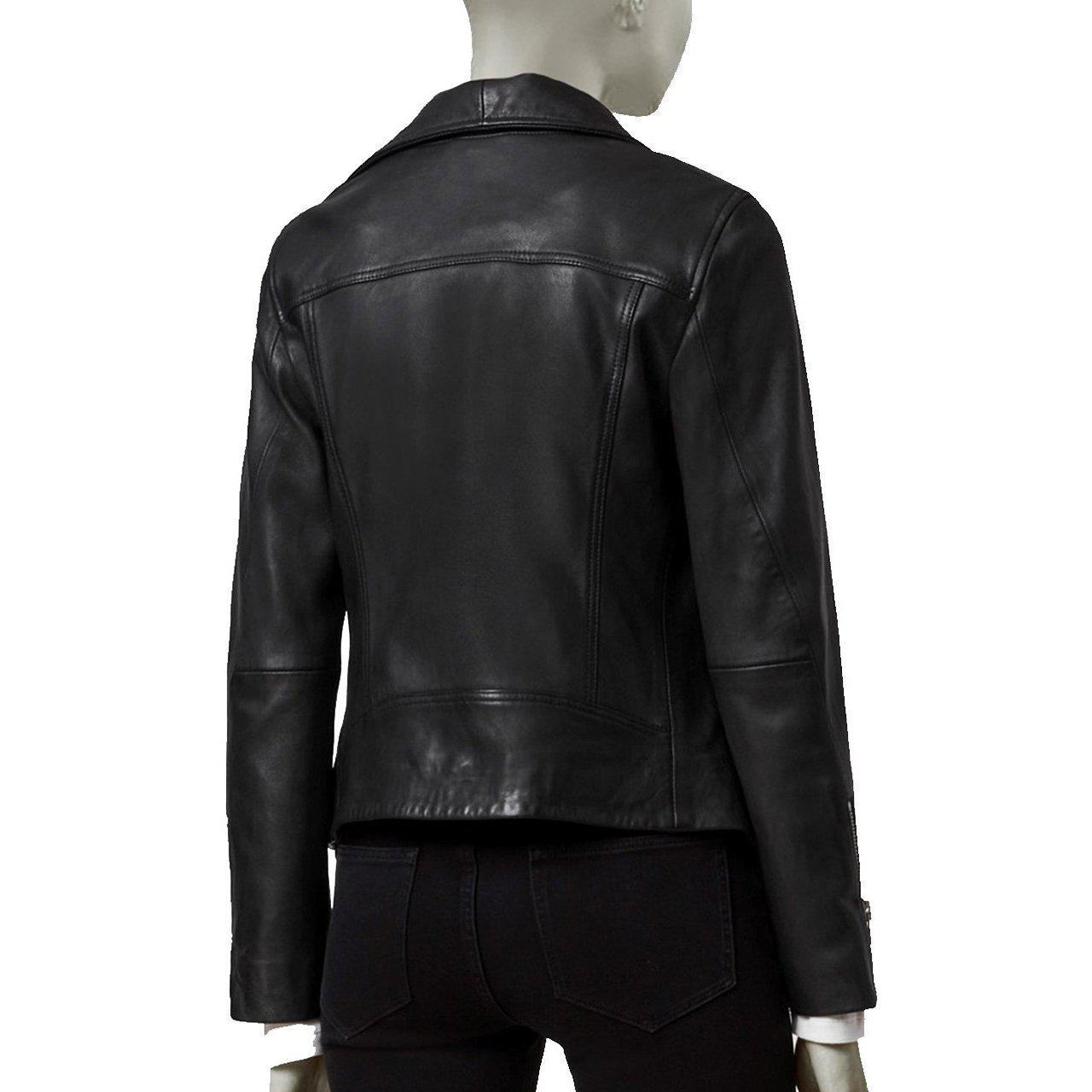 WOMEN LEATHER JACKET WITH LONG COLLAR AND ZIPPER SLEEVES - WOMEN LEATHER JACKET - Leather Jacket