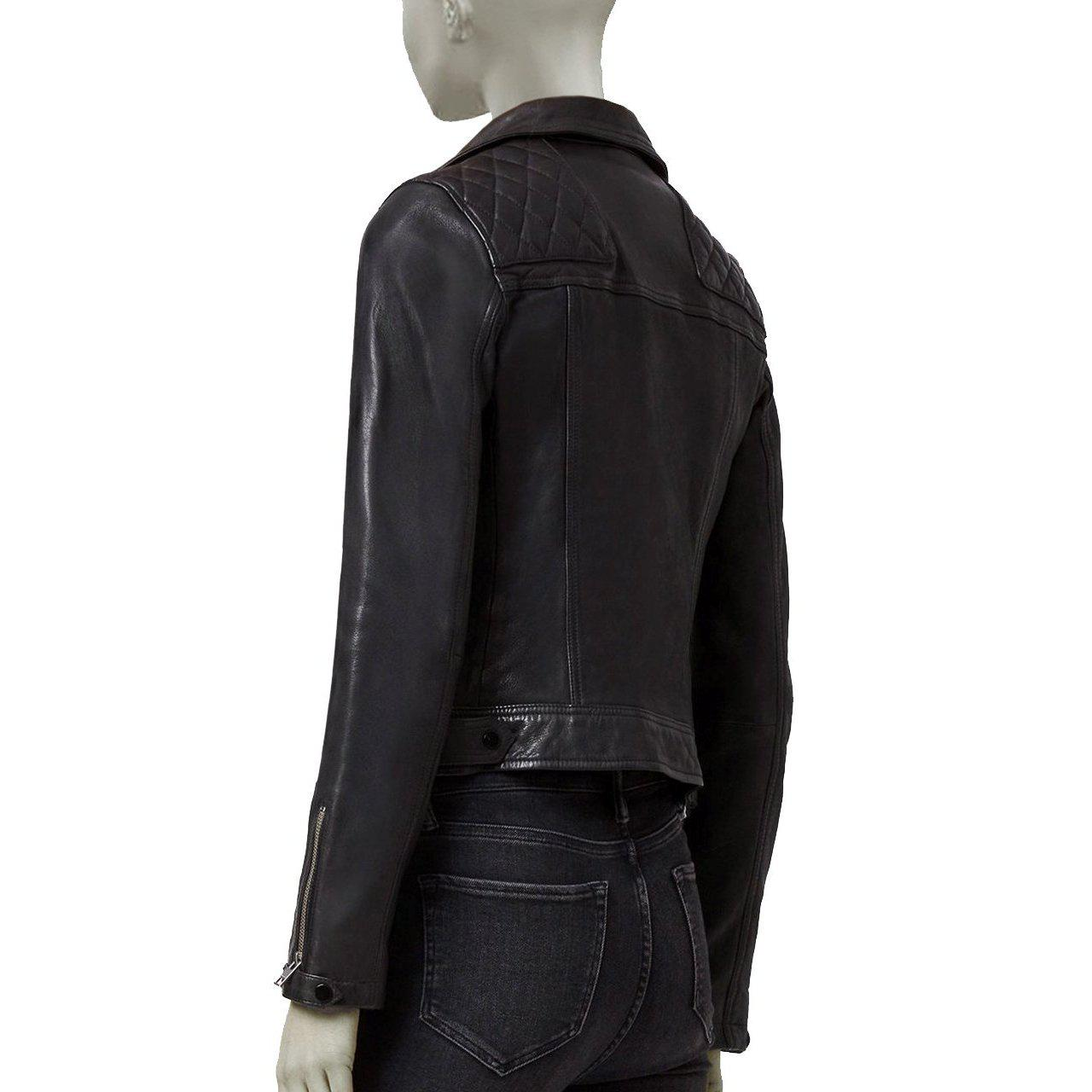 BIKER LEATHER JACKET WITH SQUARE PATTERN ON SHOULDER FOR WOMEN - Leather Jacket
