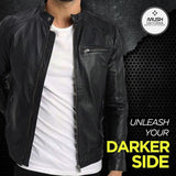 Men Black Collar Strap Leather Jacket - Leather Jacket