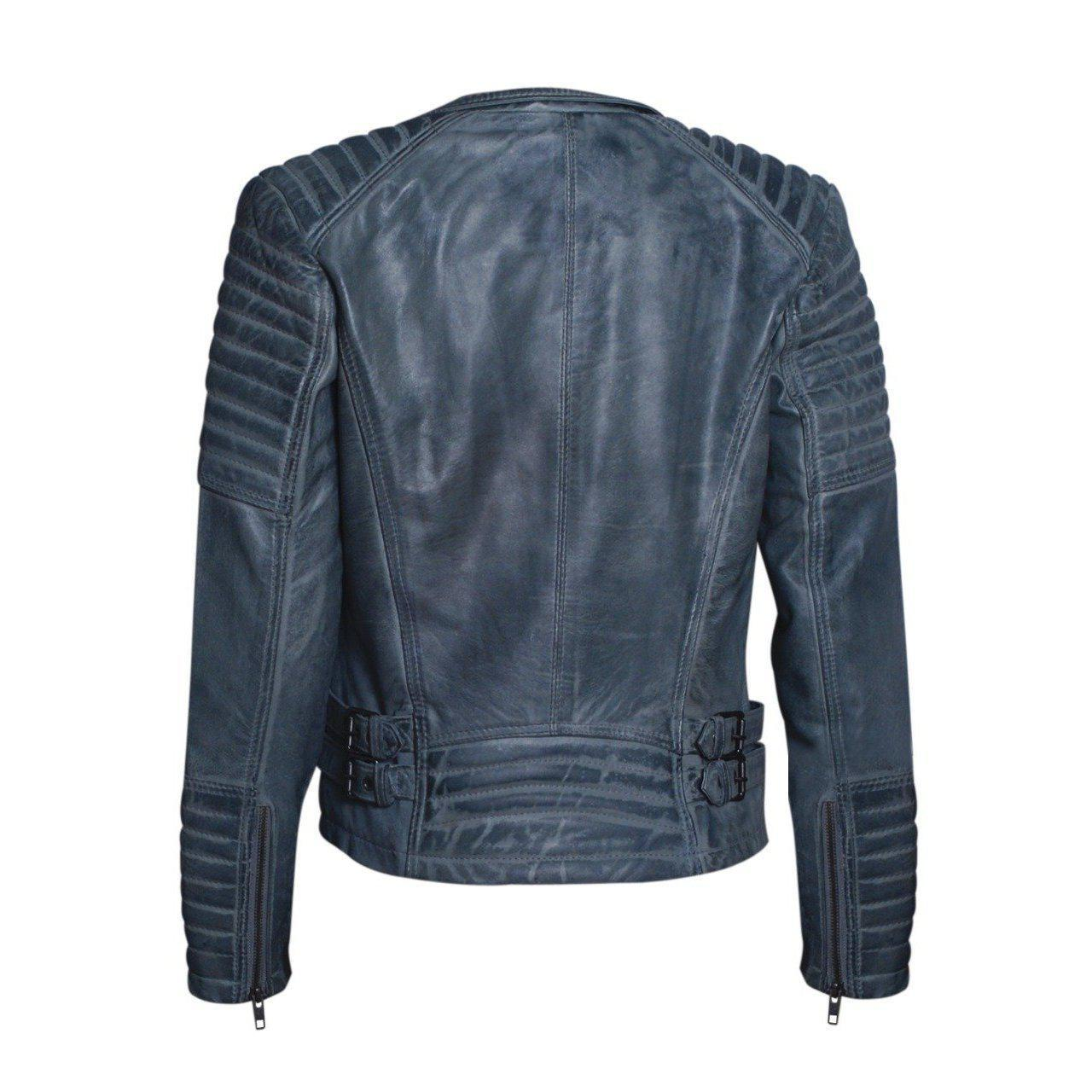 Stylish Grey Leather Jacket for Women with Long Sleeves - Women Leather Jacket - Leather Jacket