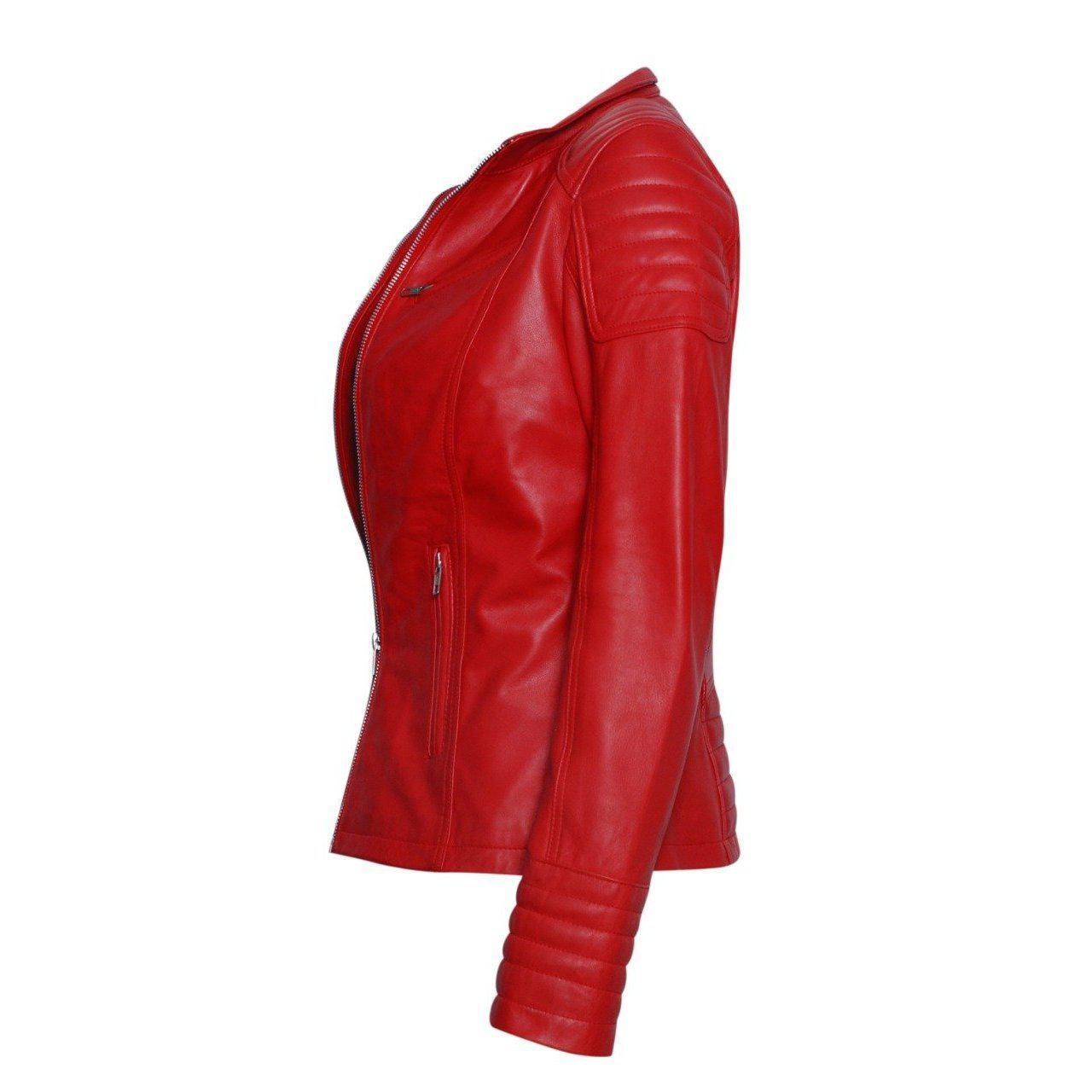 Stylish Red Leather Jacket for Women with Long Sleeves leather jacket women - Leather Jacket