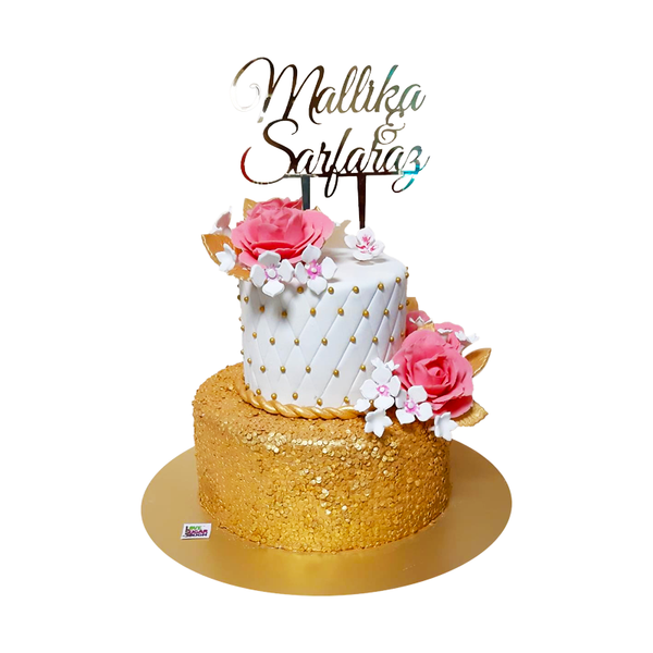 2 Tier Glitter Wedding Cake