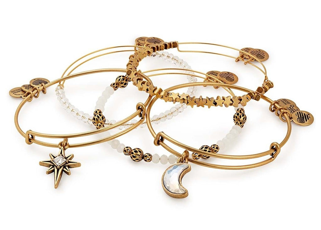 Alex & Ani Moon and North Star Charm Bangle Set