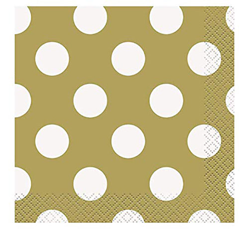 Cocktail Napkins Gold Polka Dots