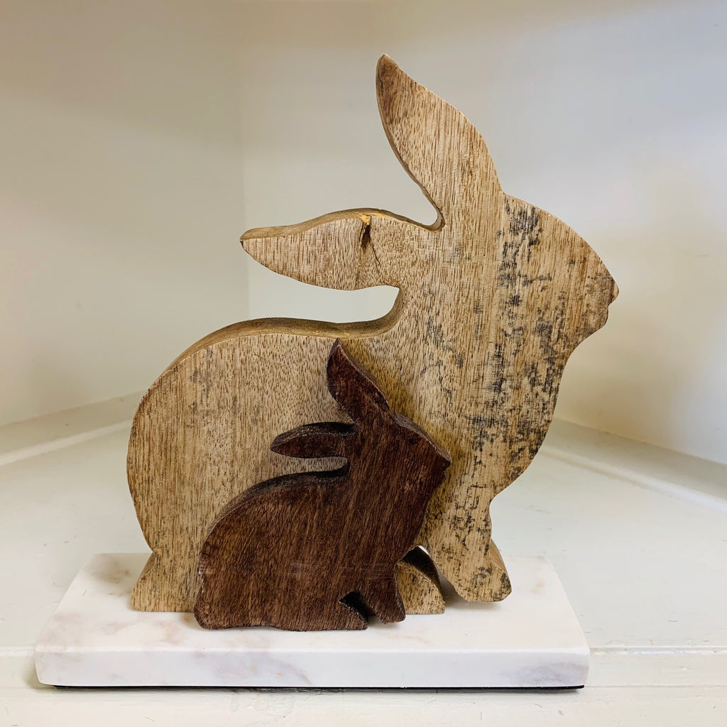 Double Wooden Bunny