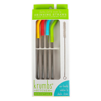 Reusable Stainless Steel Straws with Silicone Tips & Cleaning Brush (4 Pack)