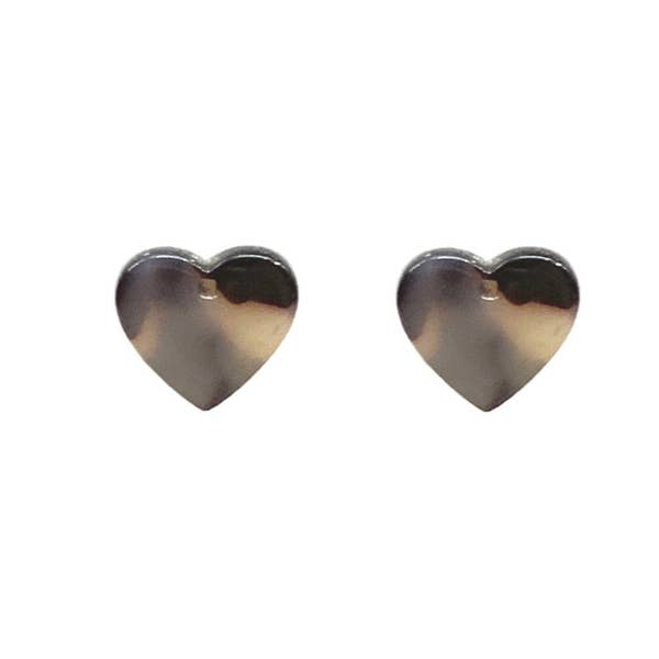 Tortoise Stud Heart Earrings